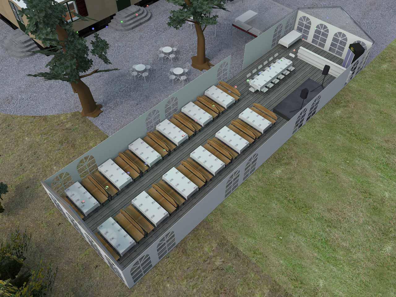 3D skiss Bellevue festlokal Roslagstull 110 gäster