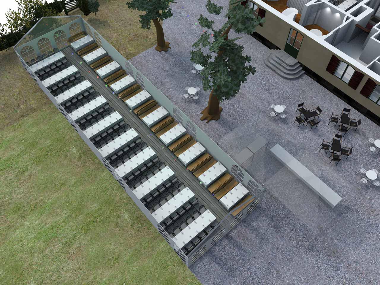 3D skiss Bellevue festlokal Roslagstull 200 gäster