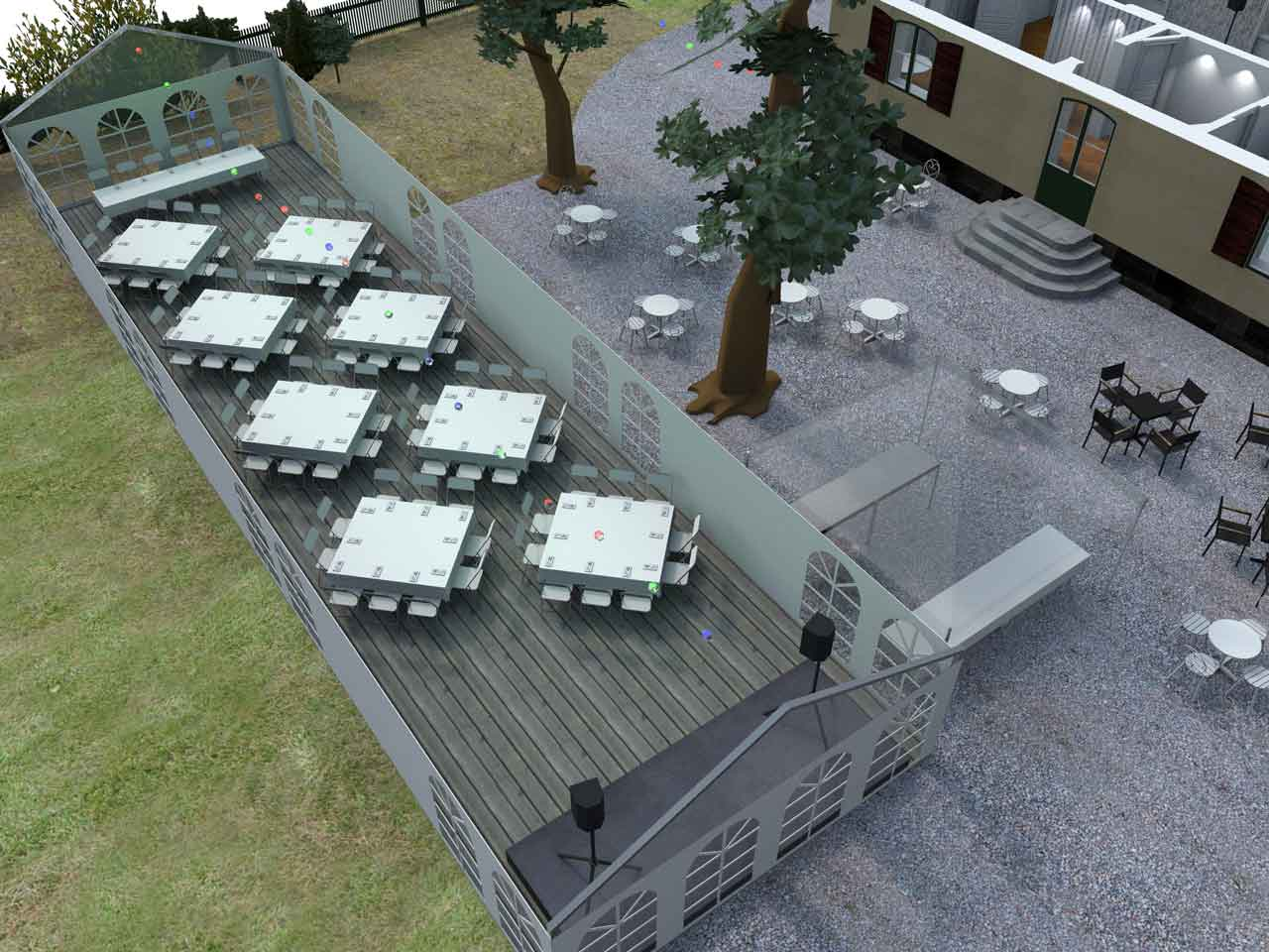 3D skiss Bellevue festlokal Roslagstull 86 gäster
