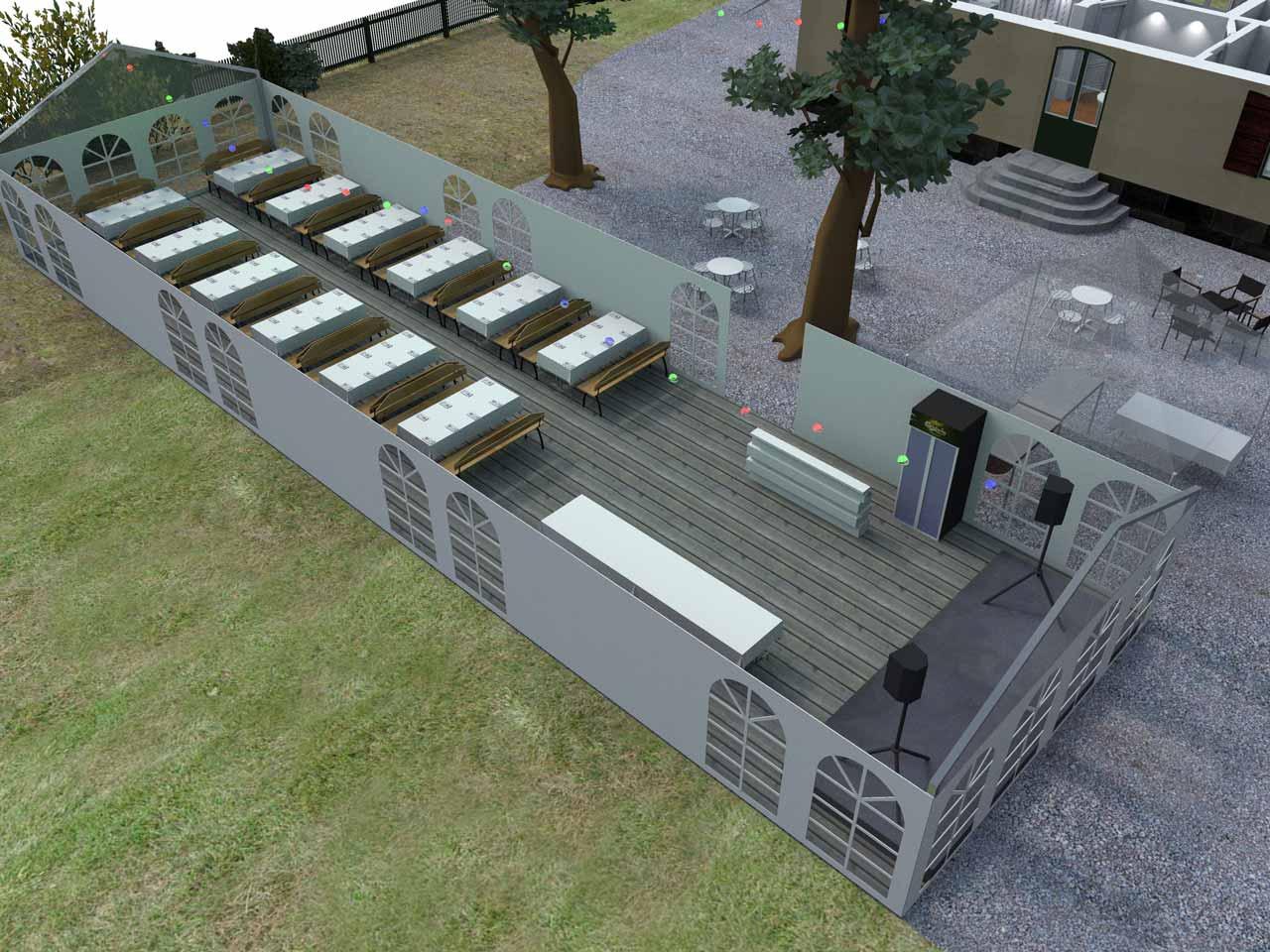 3D skiss Bellevue festlokal Roslagstull 96 gäster