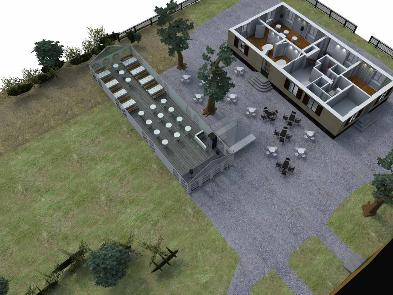 3D skiss Bellevue festlokal Roslagstull översikt