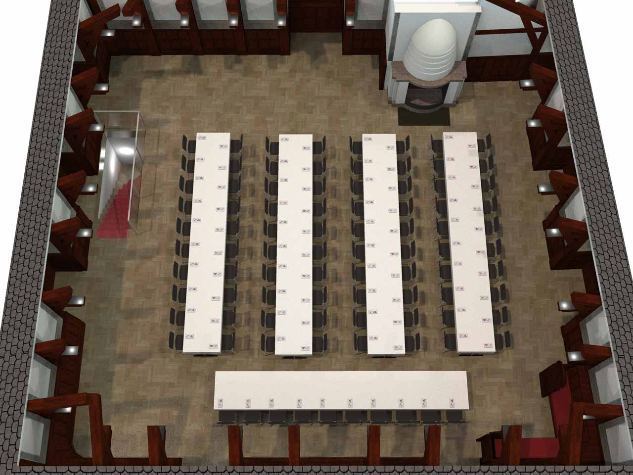 Placeringsskiss, Clustret, 90 gäster med honnörsbord