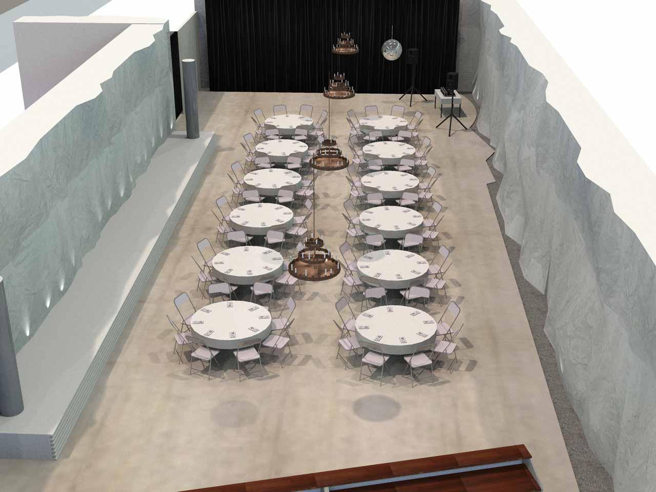 Placeringsskiss, Piren eventlokal, 96 middagsgäster