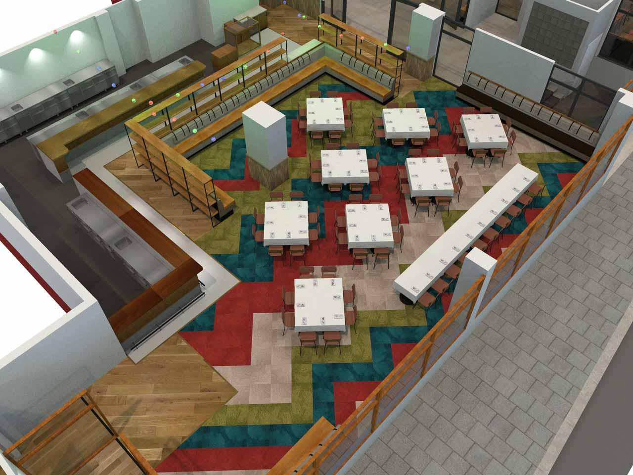 Bröllopsdukning 74 gäster Matdistriktet i 3D