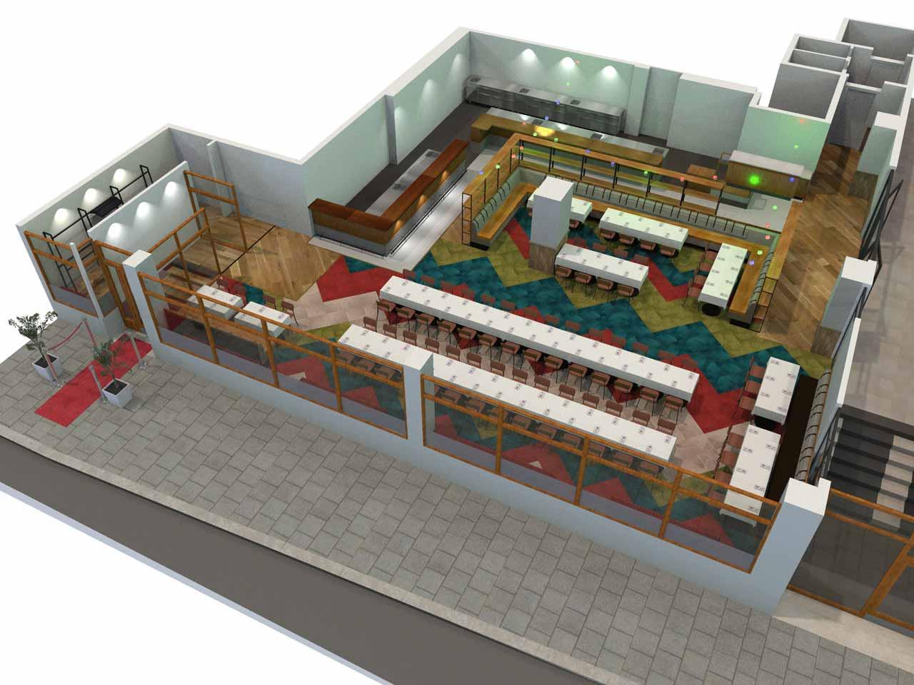 Dukning 108 gäster Matdistriktet i 3D