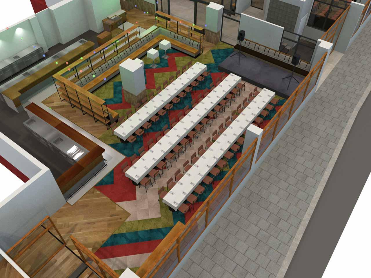 Dukning 84 gäster Matdistriktet i 3D