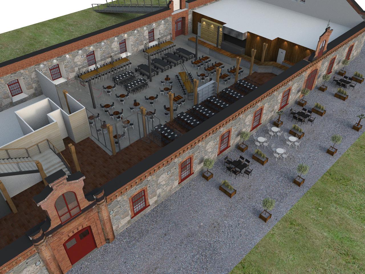 Översikt av restaurang Steninge Bruk i 3D