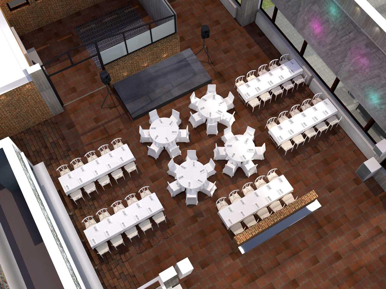 Placeringsskiss, Syster o Bror, Bröllopsdukning för 74 gäster