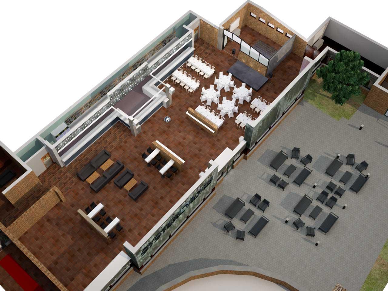 Översiktsbild i 3D av Festvåning Syster o Bror