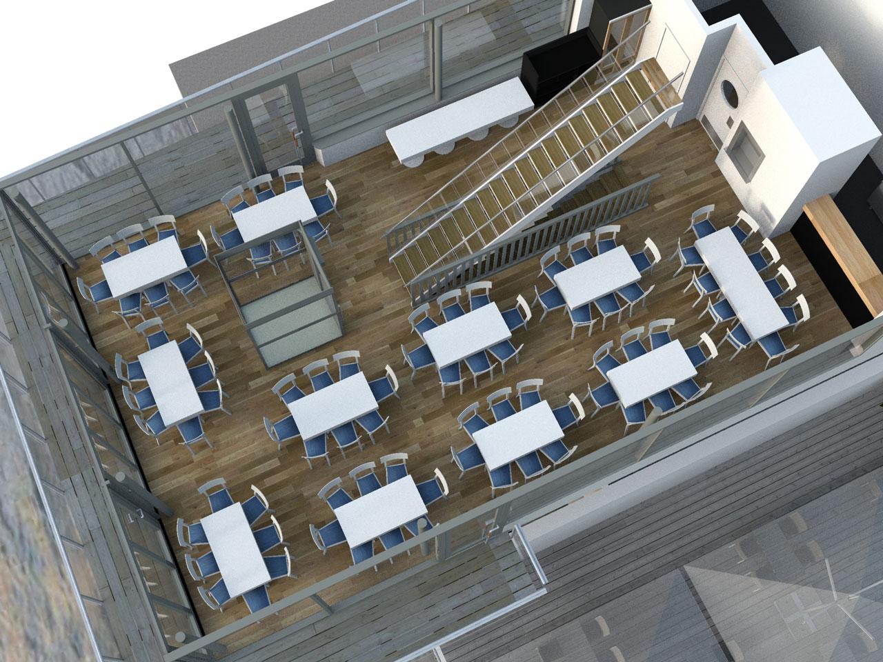 Placeringsskiss, Docklands Festvåning, 90 mingelgäster