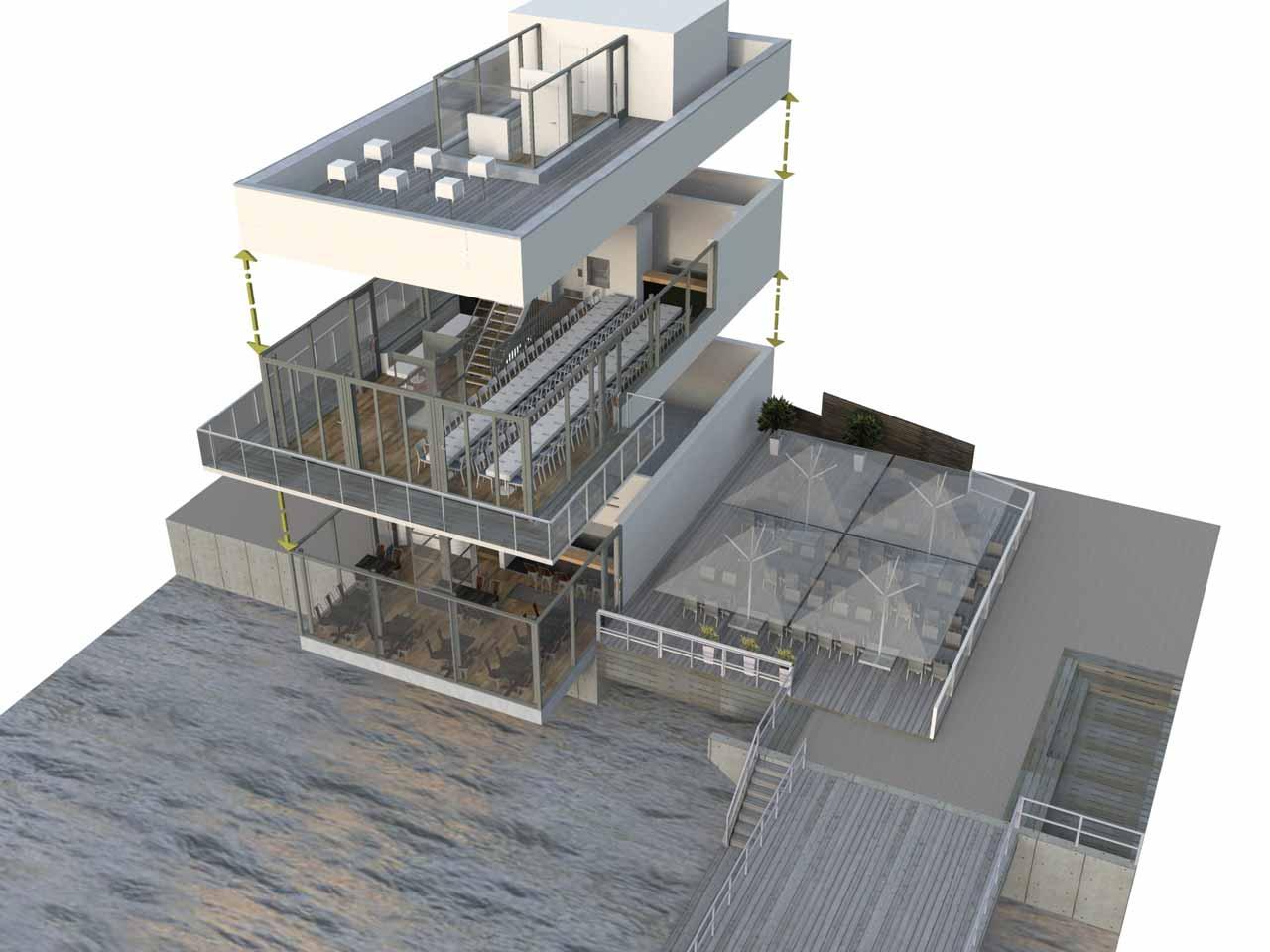 Översikt skiss i 3D, Docklands festvåning