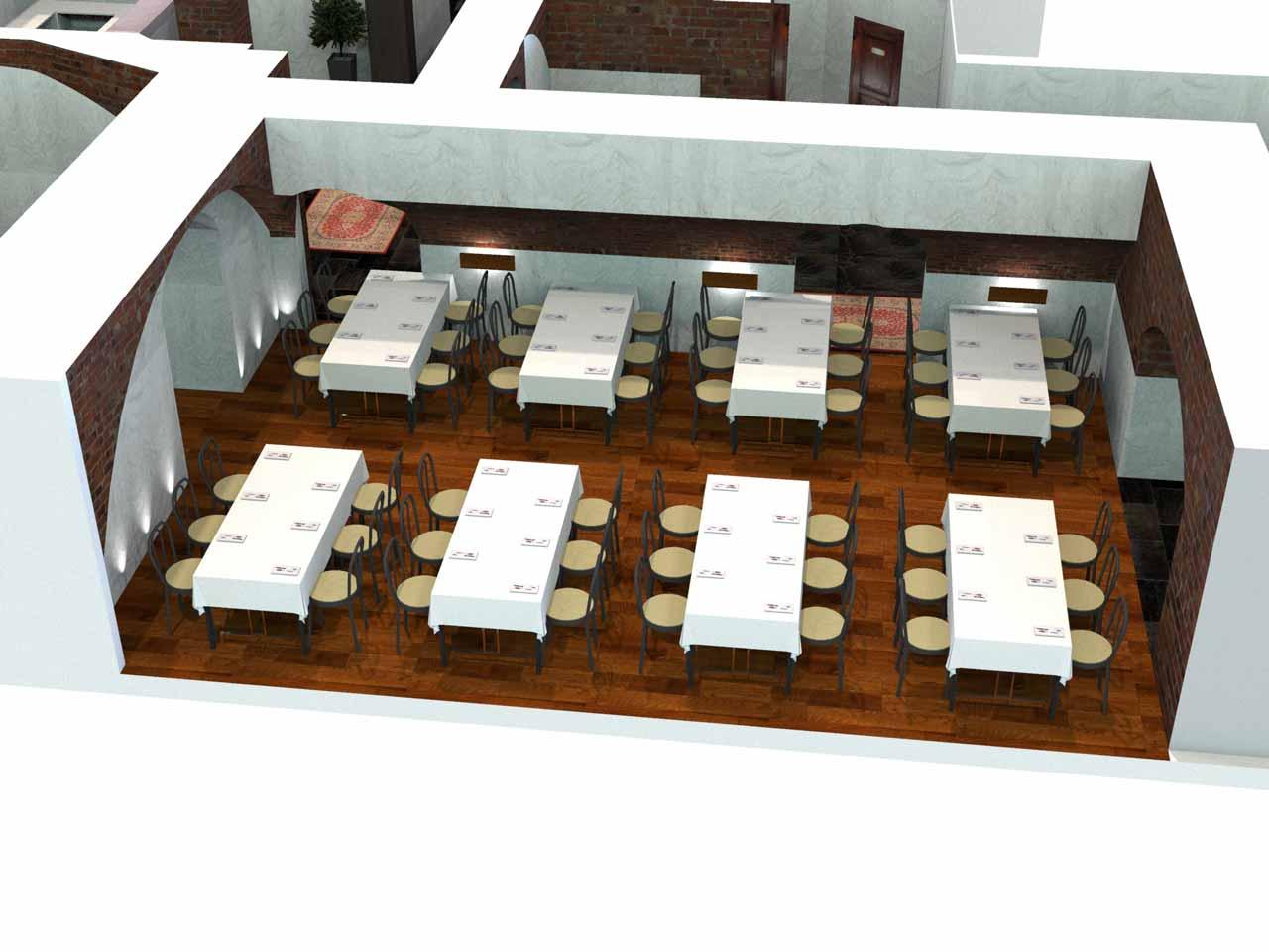 Placeringsskiss, En Trappa Ner, middag 48 gäster