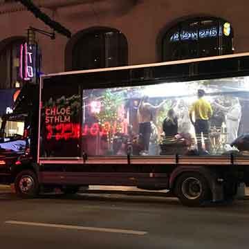 Popup trucks festlokal på lastbil