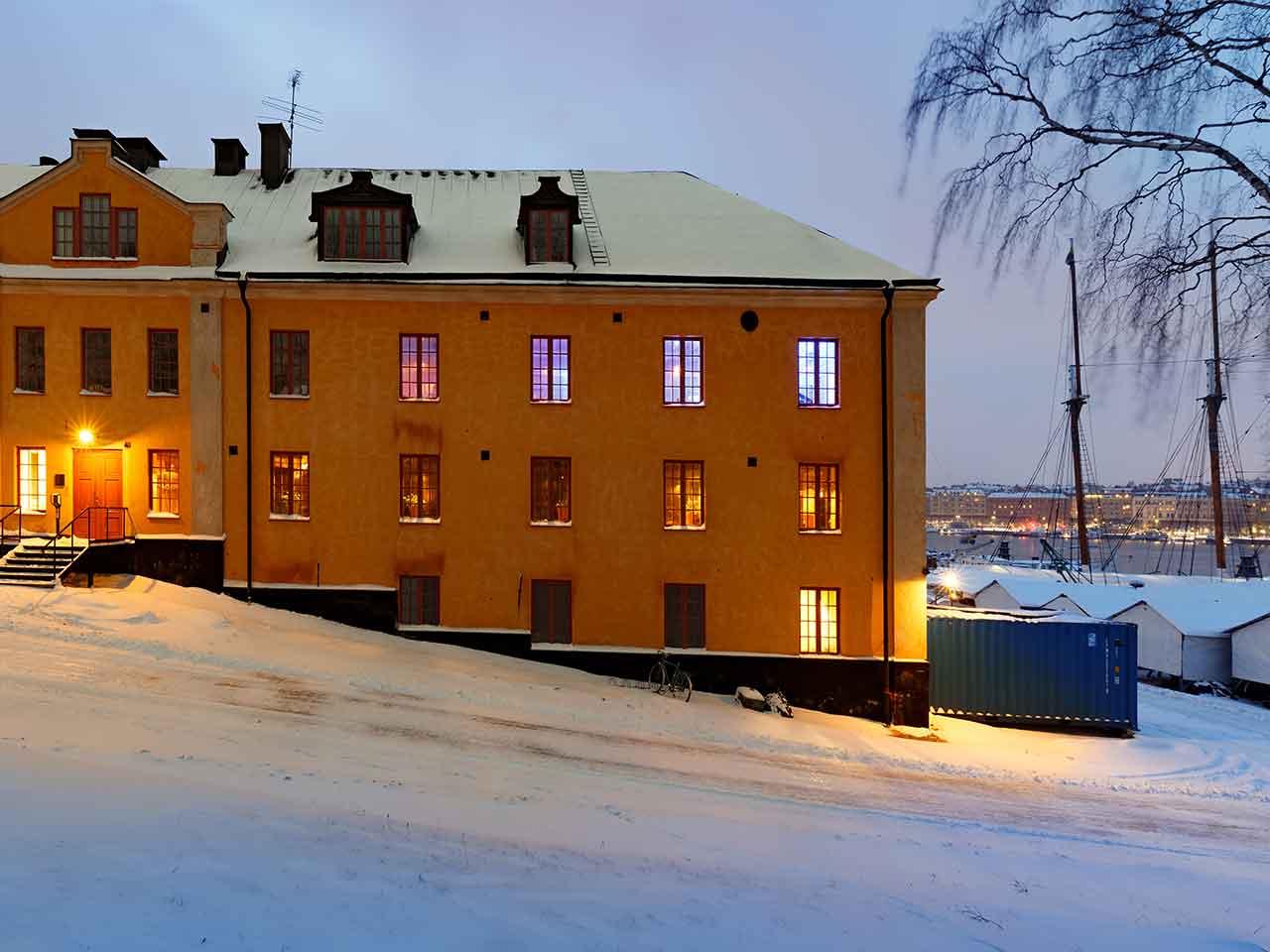 Segelsalen .- uteplats på Skeppsholmen